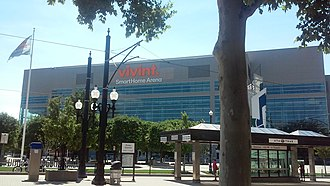 Vivint Smart Home Arena - Front exterior entrance in August 2016