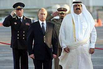 Hamad bin Khalifa Al Thani - Sheikh Hamad with the Russian president Vladimir Putin