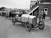 W.G. Barlow in a Bentley at Brooklands August 1922