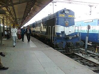 Abu Road railway station - WDM 2A loco at Abu Road railway station