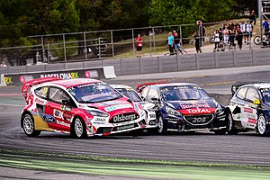 2015 World RX of Barcelona - Andreas Bakkerud, Mattias Ekström, Davy Jeanney and Johan Kristoffersson