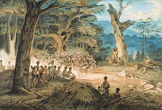 Corroboree event where Australian Aborigines interact with the Dreamtime through dance, music and costume
