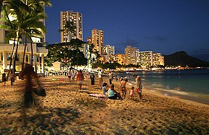 Waikiki beach at night, Waikiki, Honolulu.