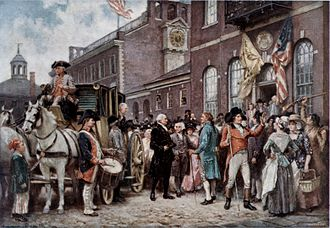 Presidency of George Washington - Washington arriving at Congress Hall in Philadelphia to take the presidential oath of office for the second time, March 4, 1793