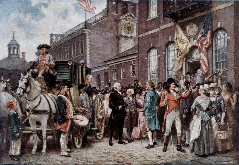 George Washington arriving at Congress Hall in Philadelphia, March 4, 1793