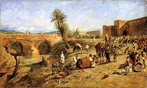 Caravan (travellers) - Edwin Lord Weeks, Arrival of a Caravan Outside the City of Morocco