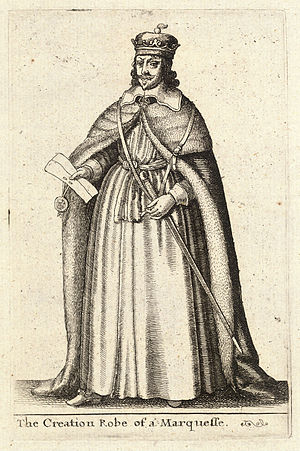 A 17th-century engraving of the robe used by a...
