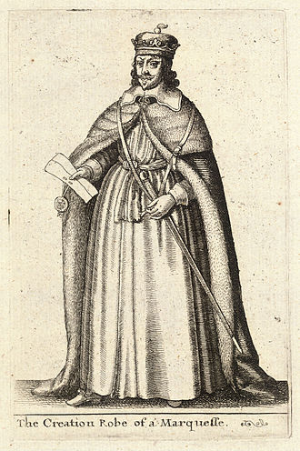 Marquess - A 17th-century engraving of a marquis in the robe worn during his creation ceremony.