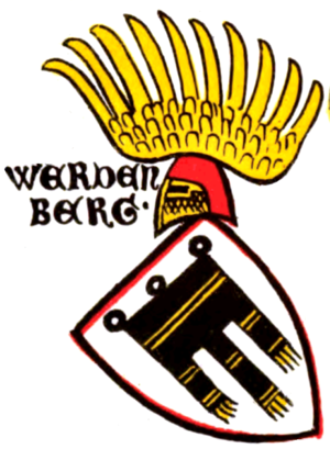 Werdenberg (Holy Roman Empire) - Coat of arms from the Zürich armorial. The heraldic charge is a Gonfanon, derived from that of the Tübingen and Montfort coats of arms.