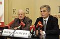 Werner Faymann und Karl Blecha bei einer Pressekonferenz in Wien (2817466882).jpg