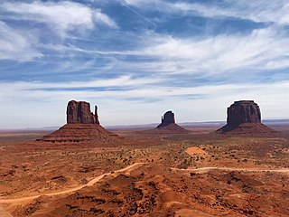 Monument Valley American West area with distinctive buttes and mesas