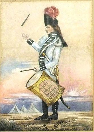 Norfolk Militia - A musician of the West Norfolk Militia, and the only known image of a West Norfolk Militia uniform in the public domain.