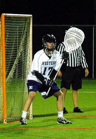 Canadian University Field Lacrosse Association - Western goalie Zach Grace (2014).