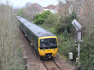 Bristol–Exeter line - Image: Weston super Mare GWR 166220 approaching from Taunton