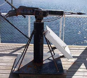 Sei whale - Photo of harpoon in anchored harpoon gun