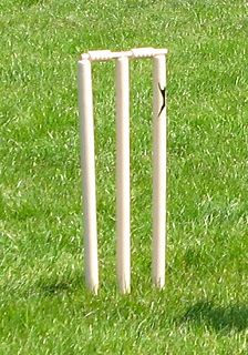 "Wicket one of the two sets of three stumps and two bails at either end of a cricket pitch, guarded by a batsman who, with his bat, attempts to prevent the ball from hitting the wicket; named after ""wicket gate"", a small gate, which it historically resembled"