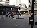 Wikimania 2014 signage at Beech Street-Aldersgate Street junction 01.jpg