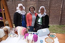 Wikipedian and ethnographer Klarqa with bobbinlace makers Myjava-Festival.jpg