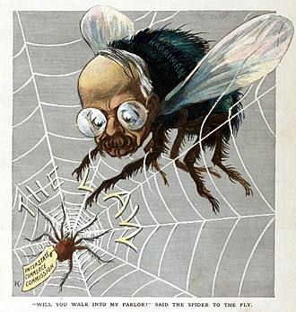 """The Spider and the Fly (poem) - 1907 cartoon, 'Will you walk into my parlor?' said the Spider to the Fly. Railroad tycoon E. H. Harriman is depicted as a fly on a spider web labeled """"The Law,"""" subject to the control of the Interstate Commerce Commission, depicted here as the spider."""