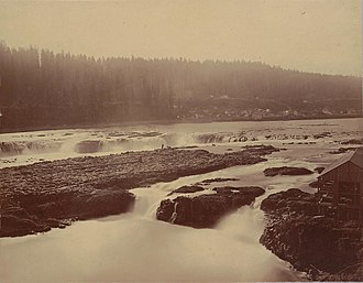 Canemah, Oregon - Willamette Falls looking south, with Canemah, Oregon, in background on left, 1867