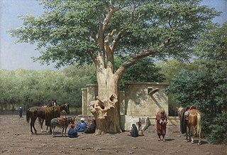 Le puits et le vieux sycomore a la place de l'Esbekieh au Kaire (Egypte)