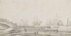 Willem van de Velde de Oude - Een fort aan de Nederlandse kust bij Den Helder, met een vloot voor de kust.jpg