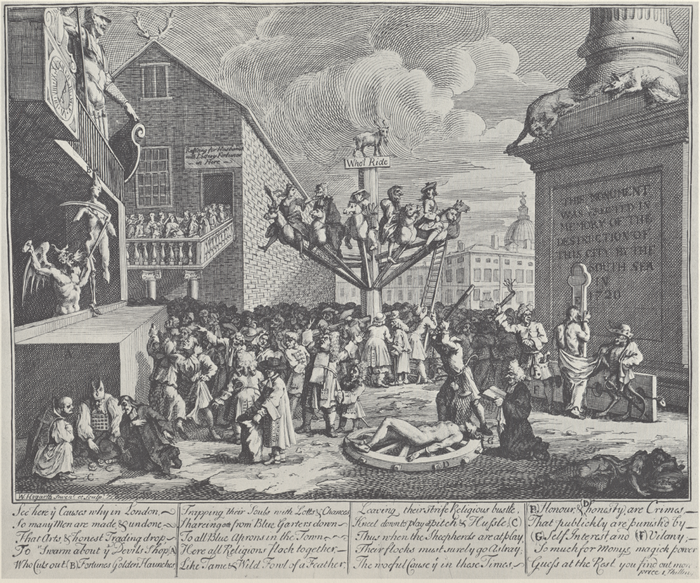 "William Hogarth, Emblematical Print on the South Sea Scheme (1721). In the bottom left corner are Protestant, Catholic, and Jewish figures gambling, while in the middle there is a huge machine, like a merry-go-round, which people are boarding. At the top is a goat, written below which is ""Who'l Ride"". The people are scattered around the picture with a sense of disorder, while the progress of the well-dressed people towards the ride in the middle represents the foolishness of the crowd in buying stock in the South Sea Company, which spent more time issuing stock than anything else. William Hogarth - The South Sea Scheme.png"