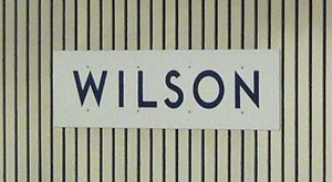Toronto Subway (typeface) - Station name for Wilson station rendered in the font on the platform walls. Helvetica was originally used, with clear panels.