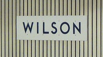 Toronto Subway (typeface) - The station name at Wilson is rendered in the Toronto Subway font on the platform wall slats, after the partial replacement of the original Univers 55 text