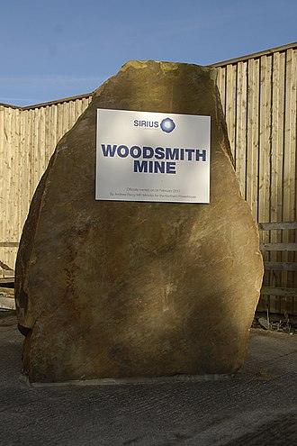 Woodsmith Mine - Woodsmith Mine cairn with official opening date