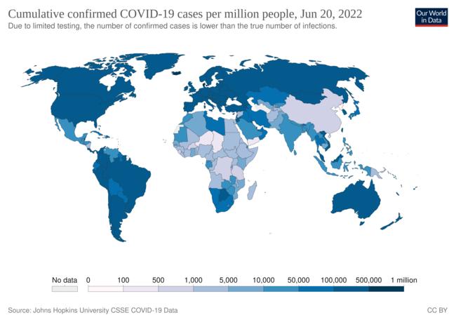 国ごとのCOVID-19の確定症例数を示した地図(百万人あたり、2020年4月28日時点)[42]