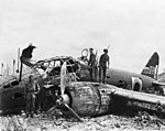 Wreck of a Japanese Mitsubishi G4M bomber on Munda airfield in August 1943.jpg