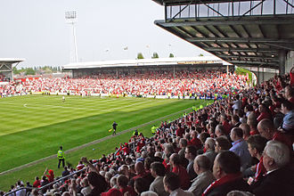 Wrexham A.F.C. - The Kop End and Mold Road Stand (foreground)