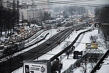 Aerial view of snowy Wrocław, Poland