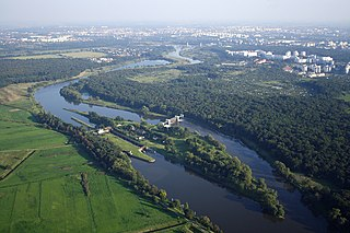 Oder river in Central Europe flowing from the Czech Republic and along the Poland-Germany border