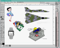 Screenshot of Xfig with example drawings