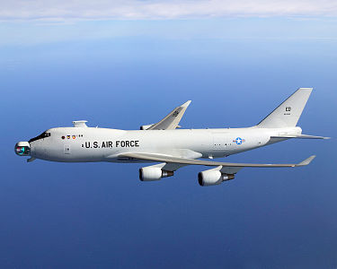 Boeing YAL-1A Airborne Laser aircraft with the laser mirror visible