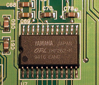 Yamaha YMF262 Enhanced version of the Yamaha YM3812 (OPL2) sound chip designed and manufactured by Yamaha Corporation