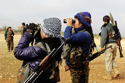 Kurdish YPG's female fighters during the Syrian War YPJ fighters Raqqa (February 2017).jpg