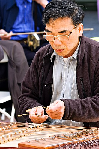 Yangqin - A musician playing a yangqin in a Cantonese street band in San Francisco.