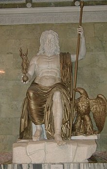 statue of the greek god zeus at olympia