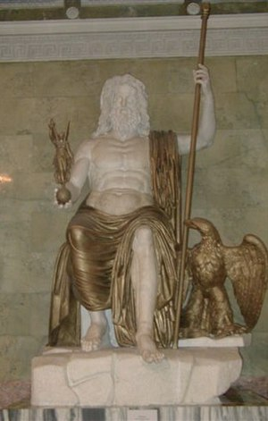 Statue of Zeus at Olympia - Roman Seated Zeus, marble and bronze (restored), following the type established by Phidias (Hermitage Museum, Saint Petersburg)