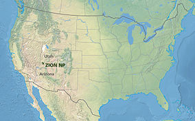Map showing the location of Zion National Park