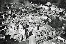 Aerial photo of Wieluń being destroyed by Luftwaffe bombing on 1 September