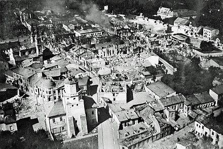 Bombing of Wielun, the first Polish city destroyed by Luftwaffe bombing, on 1 September 1939. In one of the first acts of World War II, German bombers destroyed 75% of all the buildings, including a clearly marked hospital and church, killing approximately 1,200 civilians. Zniszczenia1939 0.jpg