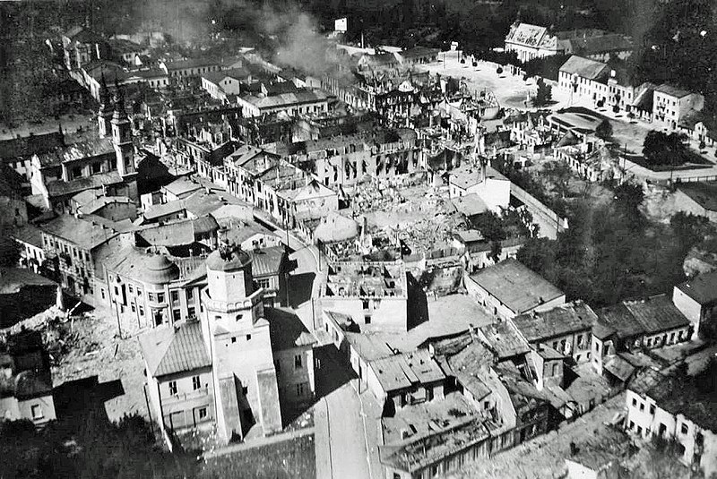 The city of Wieluń destroyed by Luftwaffe bombing