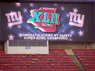 Super Bowl XLII - The big screen at Giants Stadium during the Super Bowl XLII victory rally at the New Jersey Meadowlands.