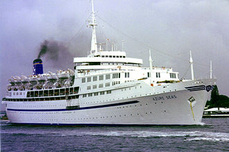 """SS Southern Cross (1954) - """"Azure Seas"""" in Port Everglades, Florida 1991."""
