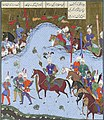 """Bahram Gur Advances by Stealth against the Khaqan,"" Folio 577v from the Shahnama (Book of Kings) of Shah Tahmasp MET sf1970-301-63 (cropped).jpg"