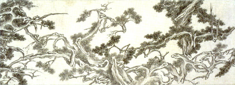 File:'The Seven Junipers' , ink on paper by Wen Zhengming (Wen Cheng-Ming).jpg
